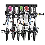 Wlretmci Bike Storage Rack Garage Hooks Wall Mount for 6 Bicycles and 3 Helmets Adjustable Bike Hanger Holds Up to 360 lbs Indoor Space Saving (4 Rails and 11 Hooks)
