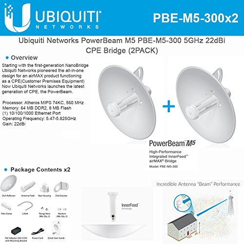 Ubiquiti PBE-M5-300 (2-Pack) PowerBeam M5 22dBi AIRMAX Bridge 300mm Outdoor 5GHz