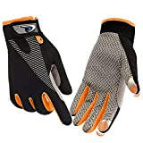 FUDOSAN Cycling Gloves Touchscreen Ultimate Frisbee Gloves Non-Slip Flexible Thin Workout Gloves (Orange, Small)