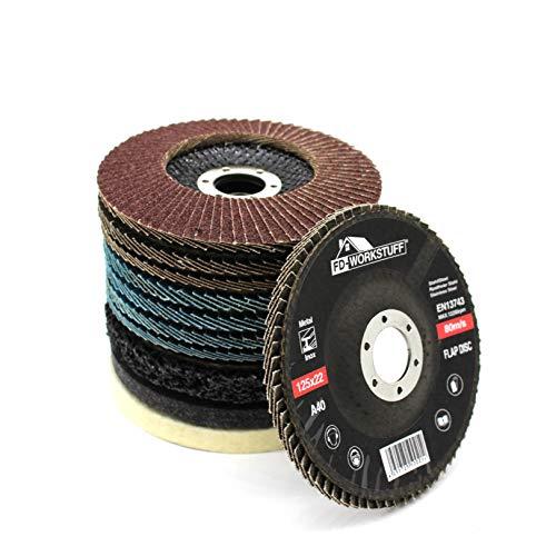 Set di dischi e lucidatura, 11 pezzi, 125 mm, 4 x blu (inox), 4 x marrone (standard), grana...