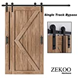 ZEKOO Rustic Style 10 FT Bypass Door Hardware Sliding Barn Door Hardware Steel Single Track for Double Wood Doors Kit Low Ceiling