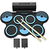 PAXCESS Electronic Drum Set 7 Pads Roll-up Practice Drum Set for Kids with Headphones, Built-in Speakers Drum Set Best Birthday Gift for Kids (Blue)