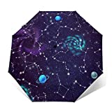 Space Spiral Galaxies Paraguas plegable automático Tri-fold Moda Print Clear Umbrella
