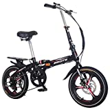 SSYUNO 20-Inch 7-Speed Folding Bike, Adult Lightweight City Commuter Mini Bicycle with Rear Carrier, Disc Brake Compact Folding Bike with Fenders