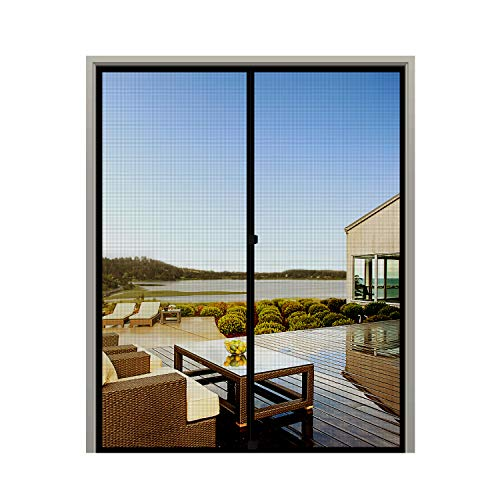 MAGZO French Screen Door 72 x 80, Durable Fiberglass Mesh with Heavy Duty Full Frame Hook&Loop Fits Door Size up to 72'x80' Max-Black