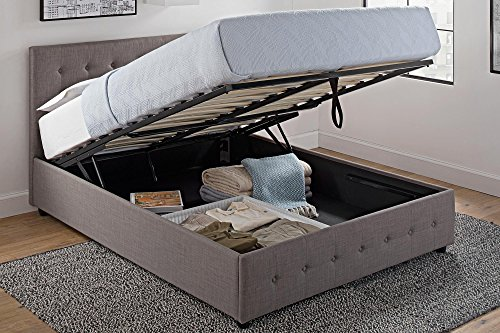 DHP Cambridge Upholstered Linen Platform Bed with Wooden Slat Support and Under Bed Storage, Button Tufted Headboard, Full Size - Grey