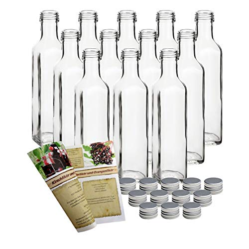 gouveo 12er Set Flasche Maraska 250 ml inkl. Schraubverschluss Silber, Likörflaschen,...