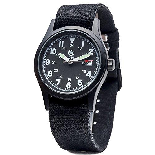 Smith & Wesson Military Armbanduhr, schwarz schwarzes Ziffernblatt & Gehäuse, mit 3 Armbändern