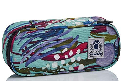 Bustina Ovale Invicta Abstract Jungle, Blu, con Organizer interno porta penne