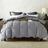 UMI. by Amazon - Couette en Duvet et plumette d'oie Blanche en Percale 100 % Coton Anti-Duvet (155x220cm-4 Saisons, gris-10.5tog)
