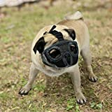 KittyStar Adjustable Bulldog Short Snout Muzzle,Breathable Mesh Eye Hole Dog Muzzle Prevent Biting, Chewing and Barking (Gray S)