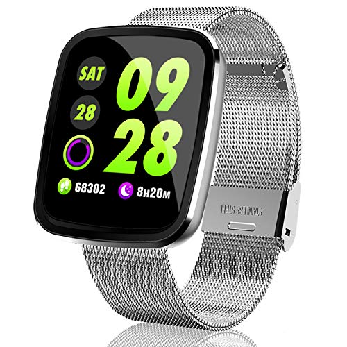 2020 High-End Waterproof Fitness Tracker - Smart Watch for Men Women with Heart Rate Blood Pressure, Health Exercise Wrist Watch for Valentine's Day Electronic Gifts[2 Watch Band]