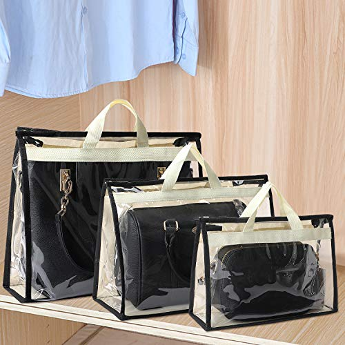 Outgeek Handbag Storage Handbag Organizer 3 Pack Dust Cover Bag Transparent Anti-dust Purse Storage Bag for Hanging Closet with Zipper and Handle (Beige)