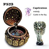 VDT Music Box Bronze Zodiac 12 Signs Music Box Retro 12 Constellation Musical Boxes Sun God Gift Box for Girls Valentine's Day Birthday Gifts