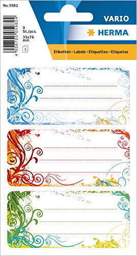 """HERMA 5982 Buchetiketten \""""Spirit\"""" selbstklebende Heftetiketten mit Motiven für die Schule für Kinder, Mädchen und Jungen, 9 Schuletiketten"""