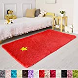 Red Rug for Bedroom,3'X5',Fluffy Area Rug for Living Room,Furry Carpet for Kids Room,Shaggy Throw Rug for Nursery Room,Fuzzy Plush Rug,Scarlet Carpet,Rectangle,Cute Room Decor for Baby