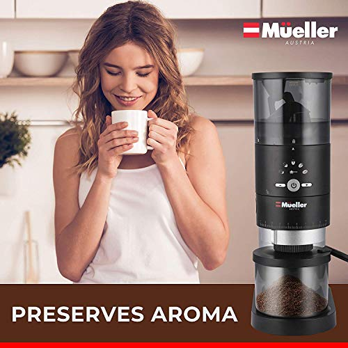Mueller Ultra-Grind Conical Burr Grinder Professional Series, Innovative Detachable PowderBlock Grinding Chamber for Easy Cleaning and 40mm Hardened Gears for Long Life 7