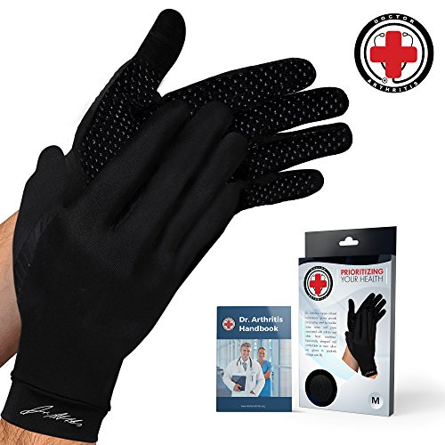 Doctor Developed Copper Full Length Compression Gloves [Pair] and Doctor Written Handbook - Relief from Joint Symptoms, Raynauds Disease, Carpal Tunnel & Hand Conditions (M)