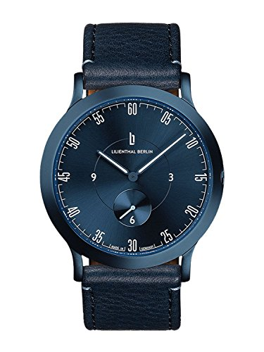Lilienthal Berlin Unisex Armbanduhr L1 | Prämiertes Design | Qualität Made in Germany (klein 37,55mm, Gehäuse: blau/Zifferblatt: blau/Armband: blau)