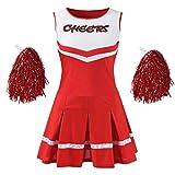 Makroyl Women's Musical Uniform Fancy Dress Complete Outfit High School Cheerleader Costume (Red, Large)