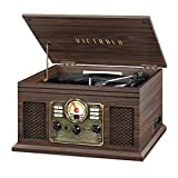Victrola Nostalgic Classic Wood 6-in-1 Bluetooth Turntable Entertainment Center, Espresso