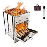 Camping Stove Foldable Wood Stove Portable Stove, Made Of Lightweight Stainless Steel Easy Fuel With Twigs Leaves Solidified Alcohol, Best Cooking System for Backpacking Hiking and Camping