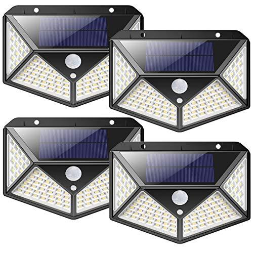 Luce Solare LED Esterno,2200mAh-Risparmio Energetico100LED Lampade Solari Sensore di Movimento 270...