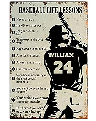 Personalized baseball life lessons poster, baseball poster, wall art decoration, perfect gift for friend, son, boys, boyfriend, grandson, coworker, any boys and men who are baseball lovers, baseball players, sports fans. This customized poster is a m...