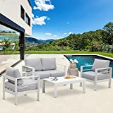 Solaste Outdoor Aluminum Furniture Set - 4 Pieces Patio Sectional Chat Sofa Conversation Set with Table,White
