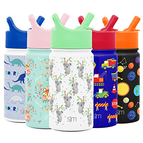 Simple Modern 14oz Summit Kids Water Bottle Thermos with Straw Lid - Dishwasher Safe Vacuum Insulated Double Wall Tumbler Travel Cup 18/8 Stainless Steel -Koala