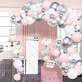Kit Arche Ballon Blanc Rose Argent SKYIOL Guirlande de Ballon 100 Helium...