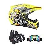 Senhill DOT Motocross Helmet Unisex Offroad Helmet Dirt Bike ATV Motorcycle Helmet Gloves Goggles (Yellow, XL)