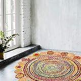 NAQSH Handmade Multicolored Reversible Braided Rag Rug (4 Feet Round, Multi Fancy (Jute+Cotton))