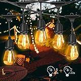 Guirlande Guinguette Extérieure et Intérieure, FOCHEA 15M Guirlandes Lumineuses avec 15 LED Ampoules & E27 Base Étanche IP65 Décoration pour Fête Jardin Mariage Patio Terrasse