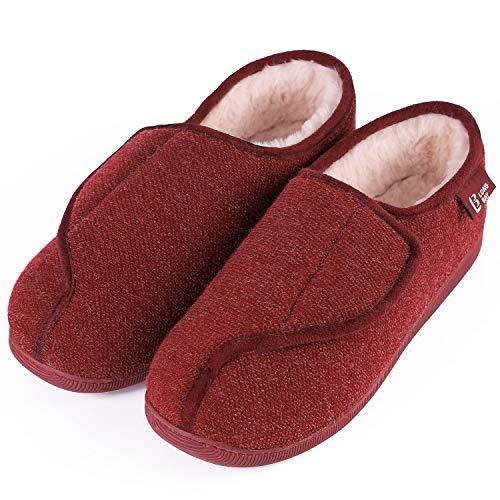 LongBay Women's Furry Memory Foam Diabetic Slippers Comfy Cozy Arthritis Edema House Shoes Wine Red 4 UK