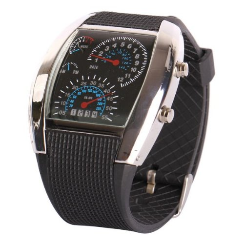 Fashion Aviation Speedometer Orologio da polso con illuminazione LED di colore blu, cassa in colore...