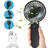 Jovego Mini Ventilador de Mano USB, Ventilador Portátil con 3000mAh Batería Recargable, Mini Ventilador Plegable con 3 Velocidades Ajustables, para el hogar, Oficina, Viajes, Cámping-Negro