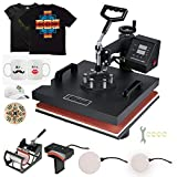 Mophorn Heat Press 15x15 Inch Heat Press Machine 5 in 1 Multifunctional Sublimation Dual LED Display Heat Press Machine for t Shirts Swing Away Design(Red)
