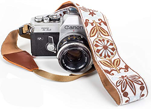 White Woven Vintage Camera Strap for All DSLR Camera. Embroidered Elegant Universal Neck & Shoulder Strap, Floral Pattern Strap Best Stocking Stuffer for Men & Women Photographers
