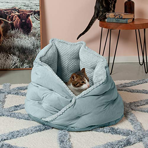 Furhaven Pet Dog Bed - Plush Minky Faux Fur and Velvet Calming Anti-Anxiety Burrow Nest Hug Pet Bed for Dogs and Cats, Aquamarine, 24-Inch