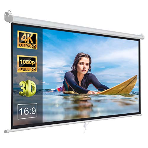 ZENY 100' Projector Screen 16:9 HD Projection Manual Pull Down Portable Foldaway Movie Home Theater Projector Movies Outdoor Screen (100,16:9)