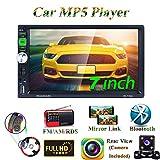 Honboom Autoradio Bluetooth 2 DIN Stéréo avec écran Tactile HD de 7 Pouces Soutien Bluetooth Mains Libres Appelez/Lien Miroir/FM/RDS/Carte USB/TF/AUX (Caméra de recul Incluse)