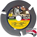 Grinder Wood Carving Disc GRAFF Speedcutter 4-1/2-Inch, Circular Saw Blade for Angle Grinder - Woodcarving Saw Blade 7/8' Arbor, Sculpting, Shaping and Cutting Wheel with 3 Teeth (115 mm)