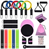 OZUAR 22 Pcs Resistance Bands Set, Pink Home Gym Accessories for Women - Workout Bands Stackable up to 150 lbs, Resistance Loop Bands, Core Sliders, Door Anchor, Ankle Strap, Handles, Cooling Towel