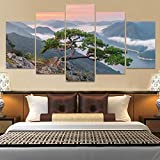 13Tdfc Cuadros Decor Salon Modernos 5 Piezas Lienzo Grandes XXL Murales Pared Hogar Pasillo Decor Arte Pared Abstracto Paisaje Bonsai Tree HD Impresin Foto 150X80Cm Regalo