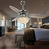 RainierLight Modern 42 Inch Crystal Ceiling Fan Lamp LED 3 Color Changing Light 3 Wood Reversible Blades with Remote Control for Living Room/Bedroom/Quiet/Decoration