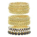 Steve Madden Yellow Gold Tone and Black Rhinestone Stretch Bangle Bracelet Set for Women