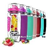 willceal Bouteille d'eau pour infuseur de Fruits 32 oz Durable avec Boule de Gel Amovible, Grande -...