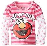 Sesame St Little Girls' Elmo Super Cute Long Sleeve T-Shirt, Pink, 4T