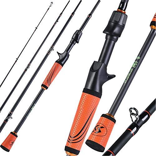 ZHXH 1.8M / 2.1M / 2.4M Canna da Pesca in Fibra di Carbonio Ultralight Gomma di Alta qualit Maniglia Portatile 4 Sezione Viaggi Canna da Pesca,2.1m